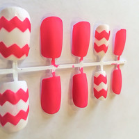 Chevron Fake Nails Pink Acrylic Nails Matte False Nails