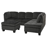 Canterbury 3-piece Fabric Sectional Sofa Set - Charcoal, Christopher Knight Home