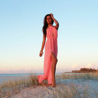 PRE ORDER - ISLA TWIST HALTER MAXI DRESS (Expected Delivery 22nd August, 2014) , DRESSES, TOPS, BOTTOMS, JACKETS & JUMPERS, ACCESSORIES, 50% OFF SALE, PRE ORDER, NEW ARRIVALS, PLAYSUIT, GIFT VOUCHER,,MAXIS Australia, Queensland, Brisbane