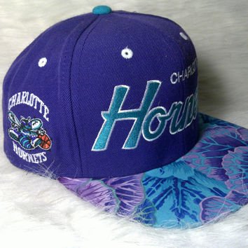 Charlotte Hornets Custom Snapback Script Jordan Grape Hat Cap Mitchell and Ness Brim