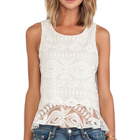 Alexis Santorini Ruffled Lace Tank in Cream