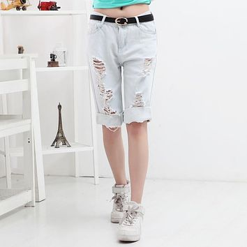 Women Loose Jeans New Riding Hollow Breeches Dog Pattern Holes Cotton Denim Pocket Capris Couples Clothes Shorts Pants Plus Size