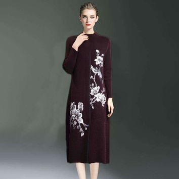 Winter Style Womens Loose Stand Collar Embroidery Flowers Mink Velvet Fox Velvet Knitted Dress