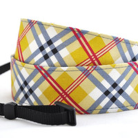 SLR Camera Strap - Mustard and Blue Plaid