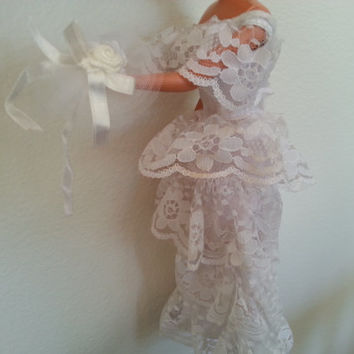 Vintage Barbie Wedding Dress and Bouquet, 1980s Barbie Doll Lace White Dress, Long Ruffle Tiered, Matching Bouquet, Miniature Doll Clothes