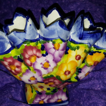 Gorgeous Vintage Jay Willfred Hand Painted Five Finger Tulip Fan Vase With Pansy Flowers. Andrea by Sadek. Made in Portugal