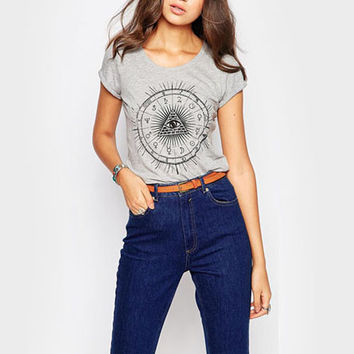 Gray Triangle Eye Print T-Shirt