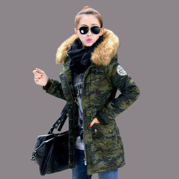 Large wool collar cotton autumn and winter camouflage cotton large size women [9126646220]