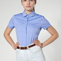 Pinpoint Oxford Round Collar Short Sleeve Button-Up Shirt | Button-Ups | New & Now's Women | American Apparel