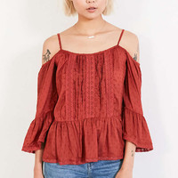 Angie Summer Nights Cold-Shoulder Blouse - Urban Outfitters