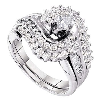 14kt White Gold Women's Marquise Diamond Bridal Wedding Engagement Ring Band Set 1.00 Cttw - FREE Shipping (US/CAN)