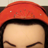 40s Fascinator Hat / Eva Mae Orange Velvet Hat / Rhinestones Beads Hat