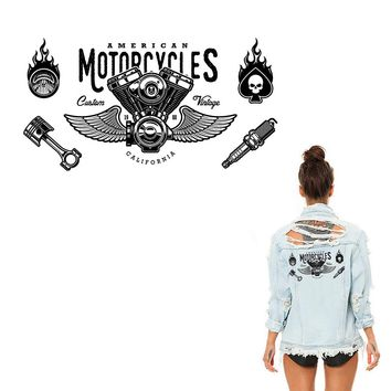 XC Motorcycles Heat Transfer Stickers Hipster Fire Cloth Patches DIY Classic Skull Rider Iron-on Patch Appliqued Parches