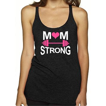 Women's Mom Strong Racerback Tank Top | Workout Tank Top