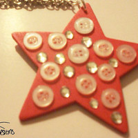 Star with buttons necklace with silver chain