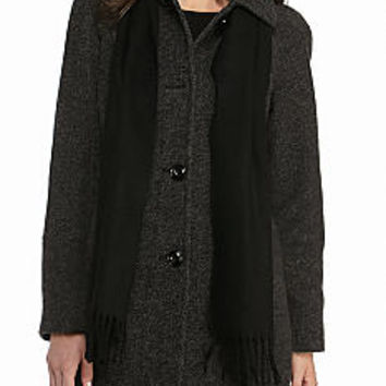 London Fog® Club Collar Raglan Sleeve Coat with Scarf