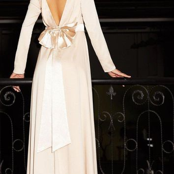 SheIn Sexy Dress Club Wear Boat Neck Long Sleeve Maxi Dress Apricot Bow Tie Sash Waist V Back A Line Maxi Dress