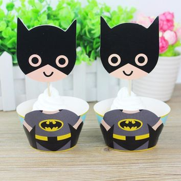 Batman Dark Knight gift Christmas 24pcs/set Cartoon Batman Party Supplies Cupcake Wrapper Cupcake Toppers Superhero Baby Shower Kids Birthday Party Decoration AT_71_6