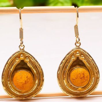Sparkling Yellow Titanium Druzy Stone Jewelry Gold Plated Earring 1.58""