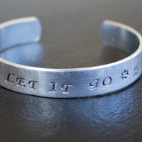 Let It Go - Inspirational Bracelet with Snow Flakes - Aluminum, Personalized, Hand Stamped Bracelet