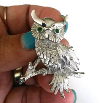 Vtg 1960s Monet Owl Silver Tone Pin Green RS Eyes Menagerie Brooch Book Piece