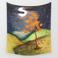 Fire Tree Wall Tapestry by ES Creative Designs