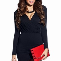 Giada Black Bodycon Long Sleeve Wrap Dress