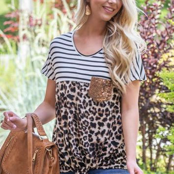 Sequin Pocket Leopard Striped Top
