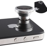 Detachable 180 Degree Fish-Eye Conversion Camera Lens Mobile Magnet Mount for iPhone 4/4S 4G itouch HTC EVO 3D