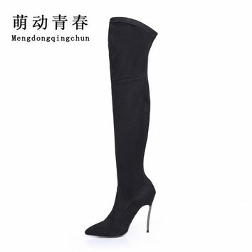 2017 Women Boots Autumn Winter Slim Thigh High Boots Stretch Faux Suede Over the Knee Boots High Heels Shoes Woman Plus Size 43