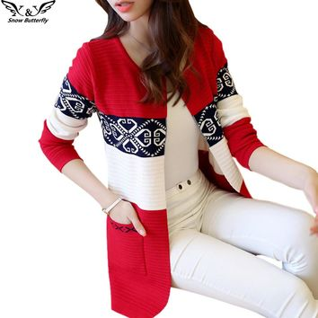 2018 high quality fall and winter cardigan sweater Knitted Cotton Patchwork Retro pocket Fashion Leisure cardigan women