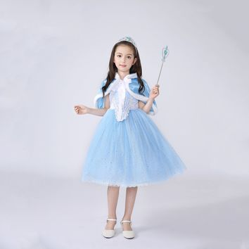 Princess Costume - Pale Blue Bubble Gown Skirt Elsa Dress with Cape - 👗💘👑🎃👠