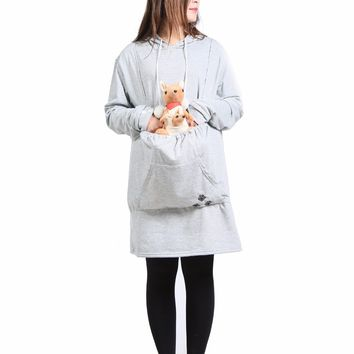 2017 Pet Holder Loose Cat Lovers Hoodies With Cuddle Cat Dog Kangaroo Pouch Carriers Pullover With Ears Sweatshirt Costume