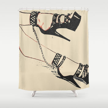 Ankle chains and high heels - best girls jewelry, submissive slim woman cuffed in fetish way, slave Shower Curtain by Casemiro Arts - Peter Reiss