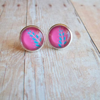 L O T U S - Turquoise Blue and Fushia Pink Flower Leaf Photo Glass Cab Circle Silver Post Earrings