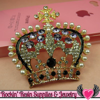 3D Purple & Pearl Royal CROWN Blinged Out Gold Tone Alloy DIY Cabochon Cellphone Decoration