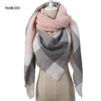 Spring Fashion Cashmere Triangle Pink Scarf