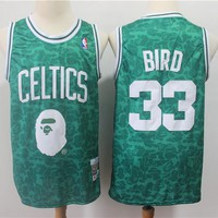 Bape x NBA Boston Celtics 33 Larry Bird Curry Mitchell & Ness Hardwood Classics Jerseys - Best Deal Online