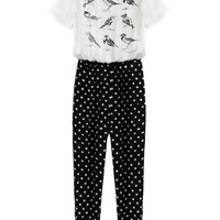 Bird Dotted Short Sleeve Jumpsuits - OASAP.com
