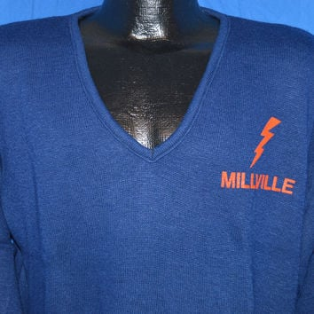 80s Millville Thunderbolts New Jersey High School Football Sweater  Medium