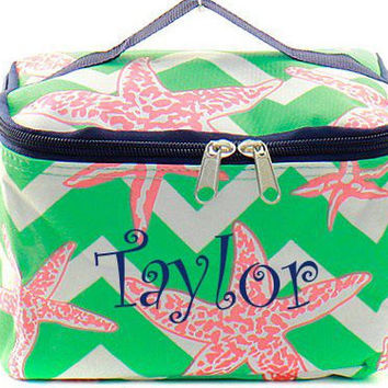 Monogrammed Cosmetic Bag  Starfish Cosmetic Bag  Monogrammed Makeup Bag
