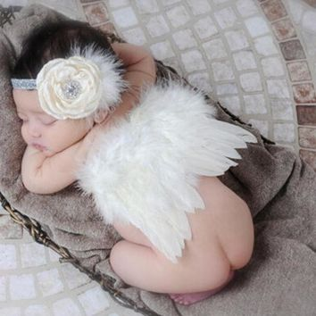 PEAPUNT Newborn Baby Girl Boy Beige Feather Angel Wing + Flower Headband Photography Props