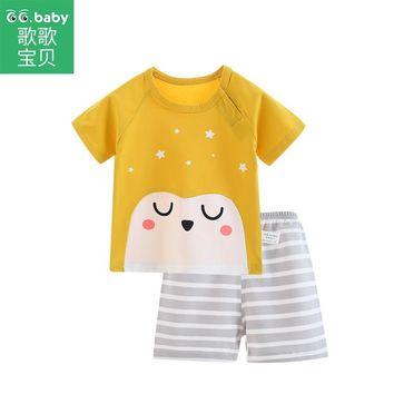 Newborn Baby Boy Set Clothes Summer Short Sleeve Baby Girls Clothing Sets Infant Clothing Outfit Girl Tshirt Striped Shorts Suit