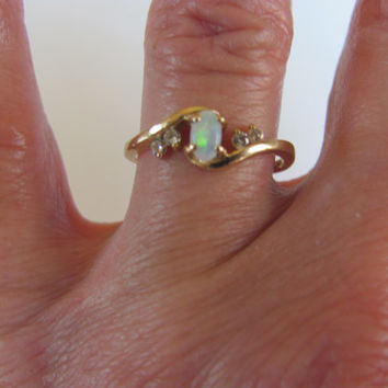 SALE Vintage estate 14k solid gold opal and diamonds accent ring very sweet pretty piece