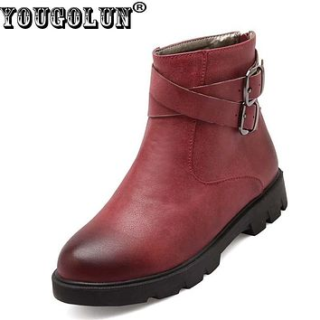YOUGOLUN Women Ankle Boots 2017 New Autumn Artificial PU Low Heel 3 cm Heels Brown Red Yellow Buckle Round toe Shoes #Y-202