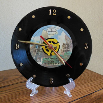 "RUSH 45rpm Record Clock 7"" For Desk or Wall (Tom Sawyer) - Stand Included"