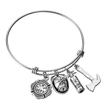 Stainless Steel Adjustable Wire Bangle Charm Bracelet DIY Jewelry Gifts for Firefighter Fire Wife Mom Daughter Girlfriend 25 Inches