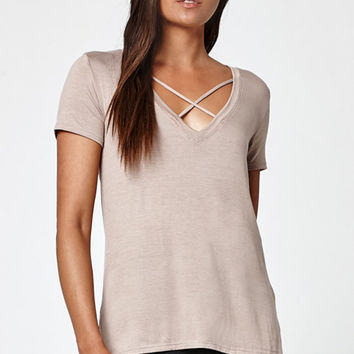 LA Hearts Crisscross Front V-Neck T-Shirt at PacSun.com