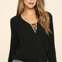 Stellar Connection Black Long Sleeve Top