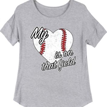 My Heart is On That Field Baseball Graphic T - Heather Grey